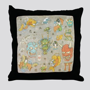 Japanese Collage Throw Pillow