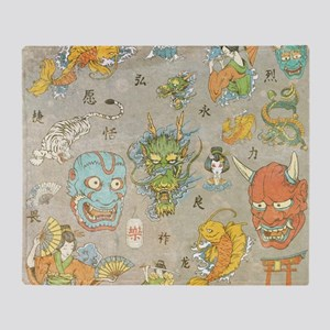 Japanese Collage Throw Blanket