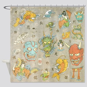 Japanese Collage Shower Curtain
