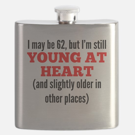 62 Years Old Young At Heart Flask