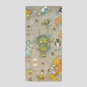 Japanese Collage Beach Towel