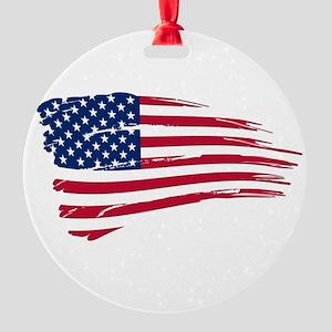 Tattered US Flag Round Ornament
