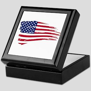 Tattered US Flag Keepsake Box