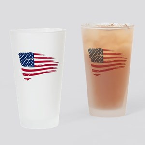 Tattered US Flag Drinking Glass