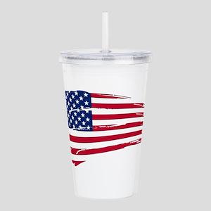 Tattered US Flag Acrylic Double-wall Tumbler