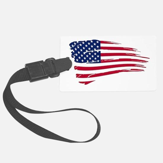 Tattered US Flag Large Luggage Tag