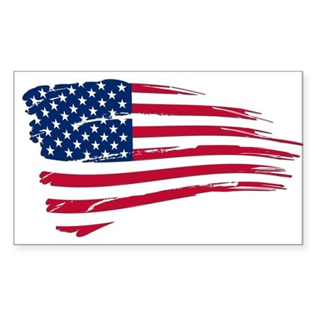 Tattered us flag decal