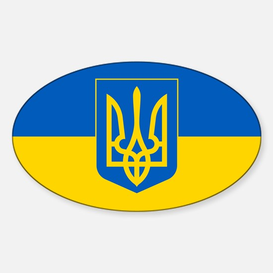 Ukrainian Flag Sticker (Oval)
