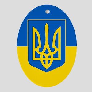 Ukrainian Flag Ornament (Oval)