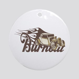 Hot Rod Burn Out Ornament (Round)