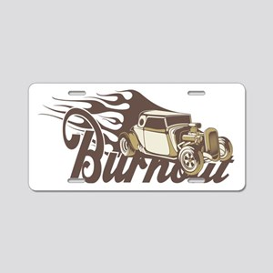 Hot Rod Burn Out Aluminum License Plate
