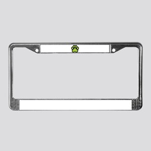 Lime green paw print basic License Plate Frame