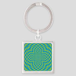 Checkered Optical Illusion Square Keychain
