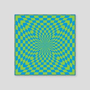 """Checkered Optical Illusion Square Sticker 3"""" x 3"""""""