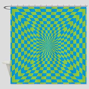Checkered Optical Illusion Shower Curtain