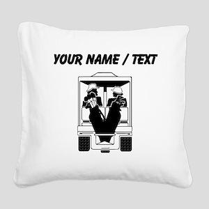 Custom Golfers On Golf Cart Square Canvas Pillow