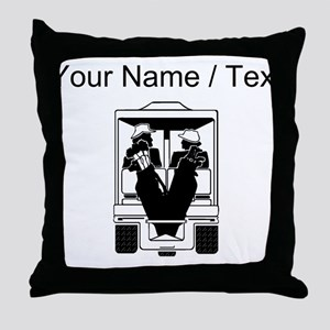Custom Golfers On Golf Cart Throw Pillow