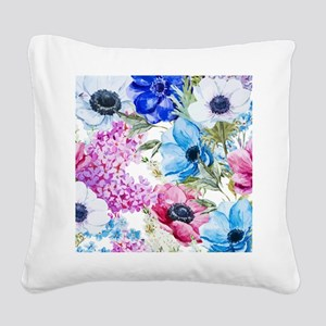 Chic Watercolor Floral Patter Square Canvas Pillow