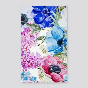 Chic Watercolor Floral Pattern Area Rug