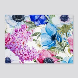 Chic Watercolor Floral Pattern 5'x7'Area Rug