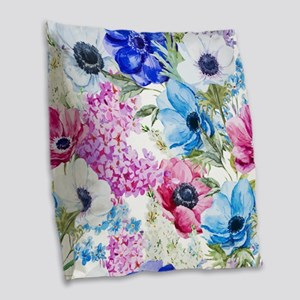Chic Watercolor Floral Pattern Burlap Throw Pillow
