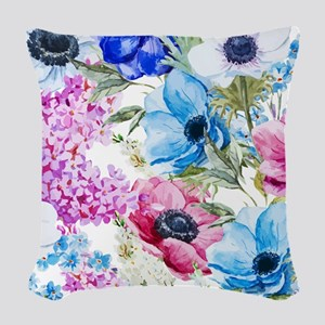 Chic Watercolor Floral Pattern Woven Throw Pillow