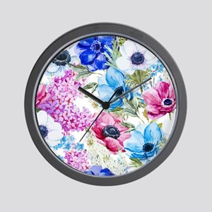 Chic Watercolor Floral Pattern Wall Clock
