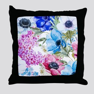 Chic Watercolor Floral Pattern Throw Pillow