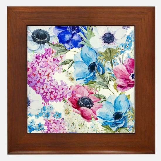 Chic Watercolor Floral Pattern Framed Tile