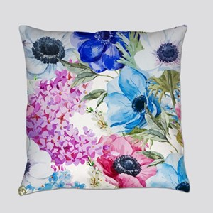 Chic Watercolor Floral Pattern Everyday Pillow
