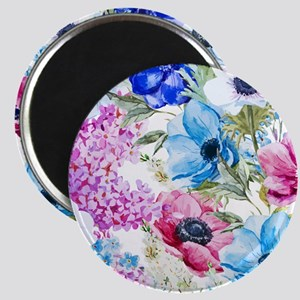 Chic Watercolor Floral Pattern Magnet
