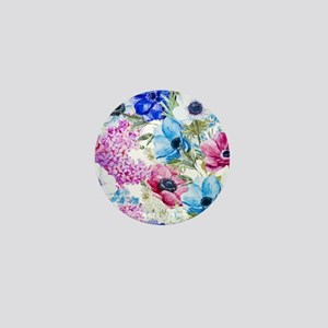 Chic Watercolor Floral Pattern Mini Button