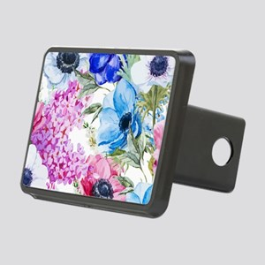 Chic Watercolor Floral Pat Rectangular Hitch Cover