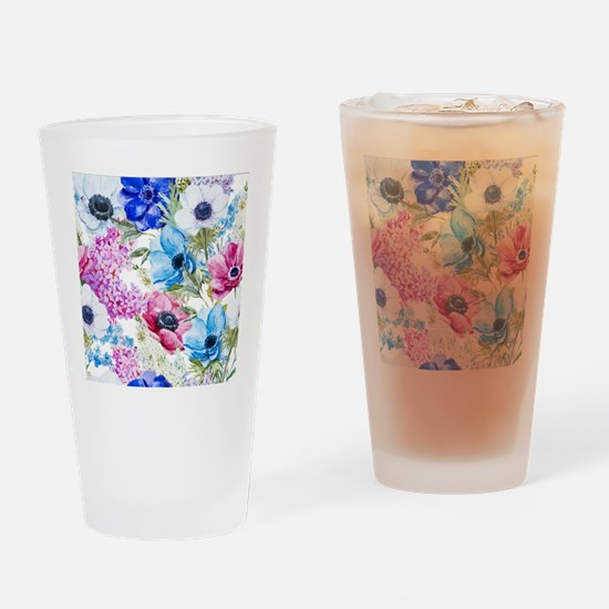 Chic Watercolor Floral Pattern Drinking Glass