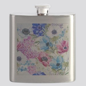 Chic Watercolor Floral Pattern Flask