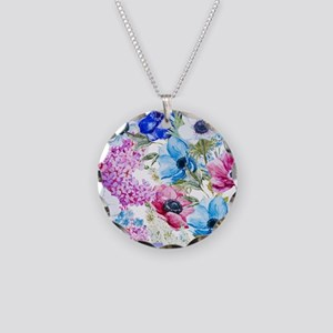 Chic Watercolor Floral Patte Necklace Circle Charm