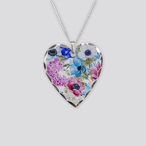 Chic Watercolor Floral Patter Necklace Heart Charm