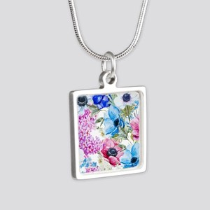 Chic Watercolor Floral Pat Silver Square Necklace