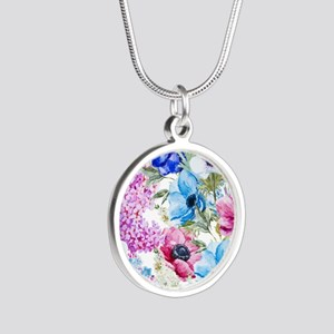 Chic Watercolor Floral Patte Silver Round Necklace