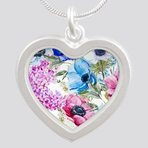 Chic Watercolor Floral Patte Silver Heart Necklace