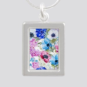 Chic Watercolor Floral P Silver Portrait Necklace