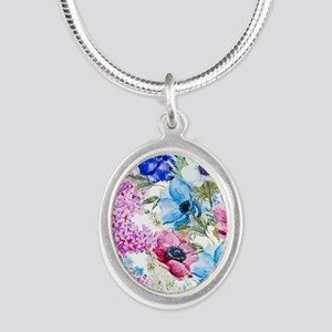 Chic Watercolor Floral Patter Silver Oval Necklace