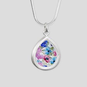 Chic Watercolor Floral P Silver Teardrop Necklace