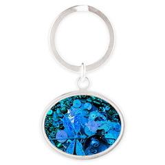 Blue Steampunk Dragonfly Oval Keychain