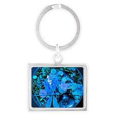 Blue Steampunk Dragonfly Landscape Keychain