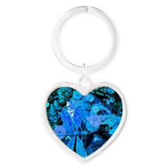 Blue Steampunk Dragonfly Heart Keychain
