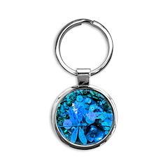 Blue Steampunk Dragonfly Round Keychain