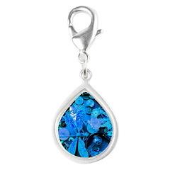 Blue Steampunk Dragonfly Silver Teardrop Charm