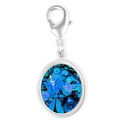 Blue Steampunk Dragonfly Silver Oval Charm