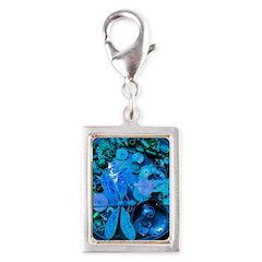 Blue Steampunk Dragonfly Silver Portrait Charm